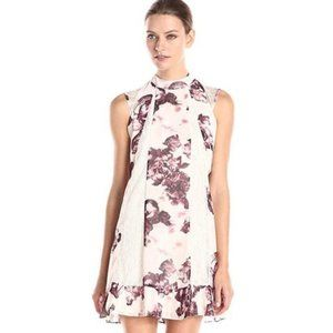 BCBGeneration Floral Printed Lace Pleated Hemline